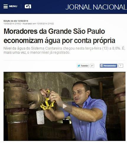 Jornal Nacional cai no ridículo ao socorrer Alckmin, anunciando racionamento voluntário de água