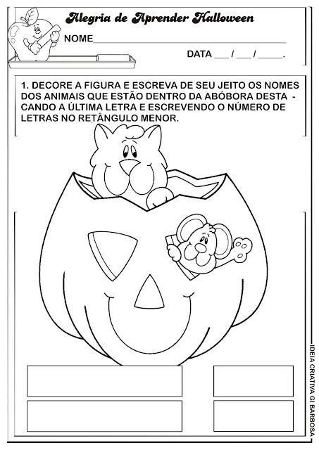 Atividade Halloween Abóbora Divertida Gato e Rato.
