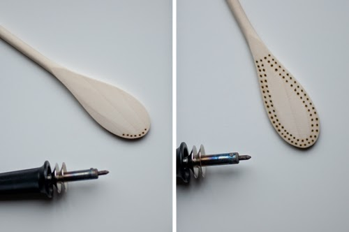 DIY etched wooden spoons