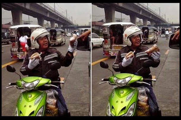 A picture showing a Police enforcer selling Filipino food named 'Kakanin' in EDSA has gained many likes and shares which made it viral in the Social Networking site today