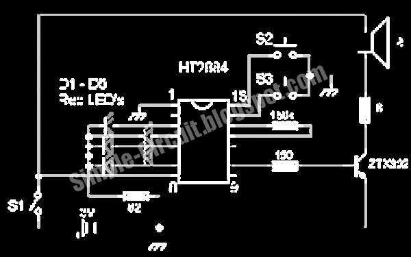 simple circuit design simple sound effect generator circuit diagramthe ht2884 is a cmos lsi chip equipped with tone circuit, noise circuit, and other control logic to generate various sounds to be used in sound effects