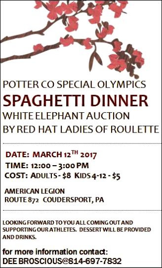 3-12 Spaghetti Dinner, Coudersport