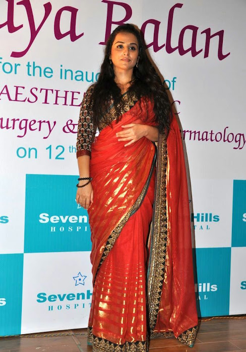 vidya balan gorgeous in red saree new glamour  images
