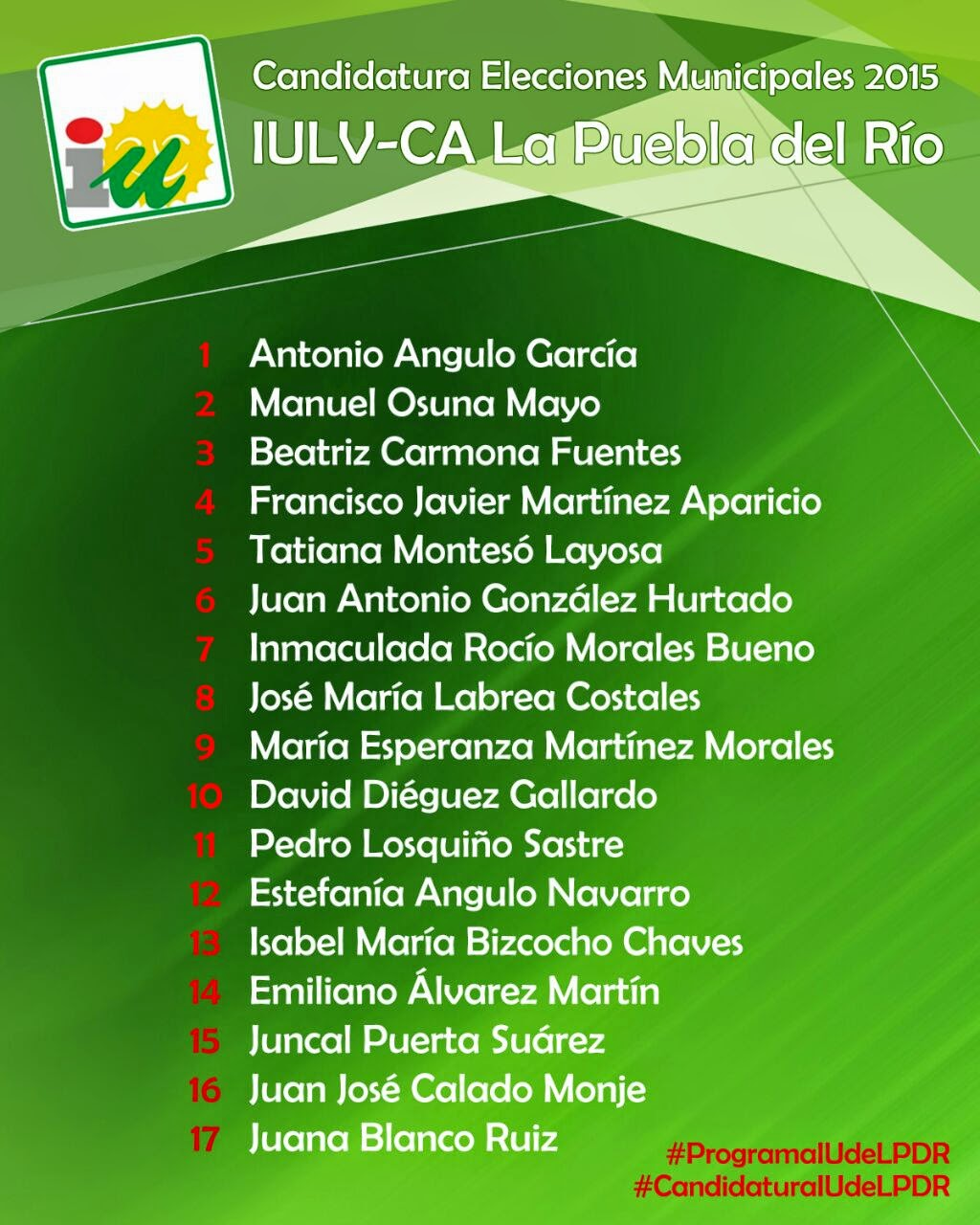 Candidatura IULV-CA La Puebla del Río Elecciones Municipales 2015