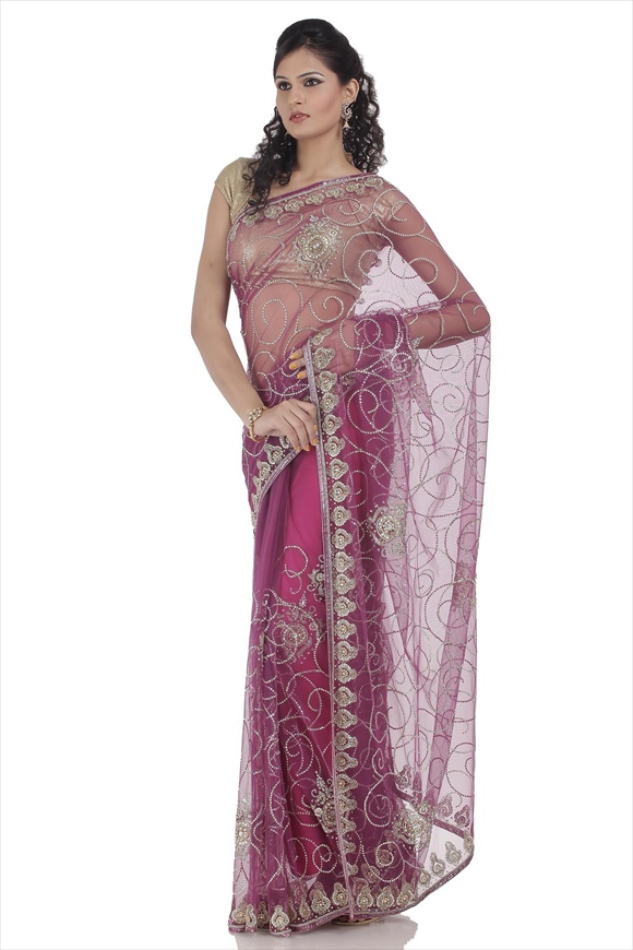 Deep Orchid Net Saree