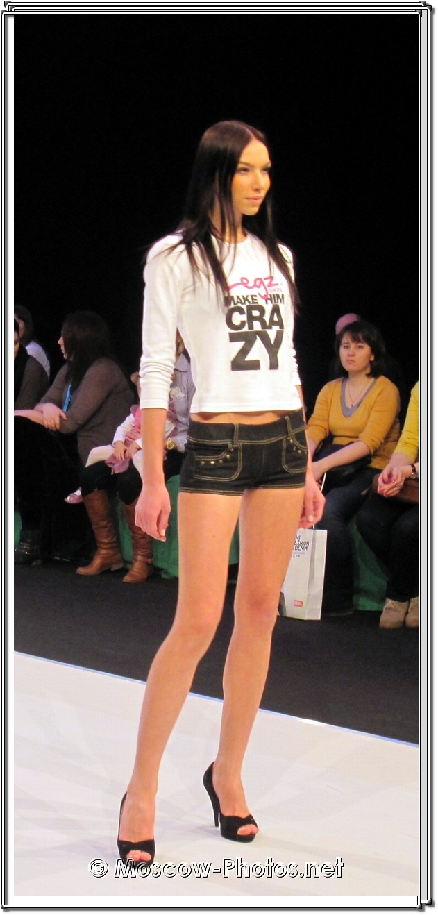 Fashion model in micro shorts