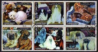1972年アジマン マルチーズ 狆 ヨークシャー・テリア パグ プードル ペキニーズの切手