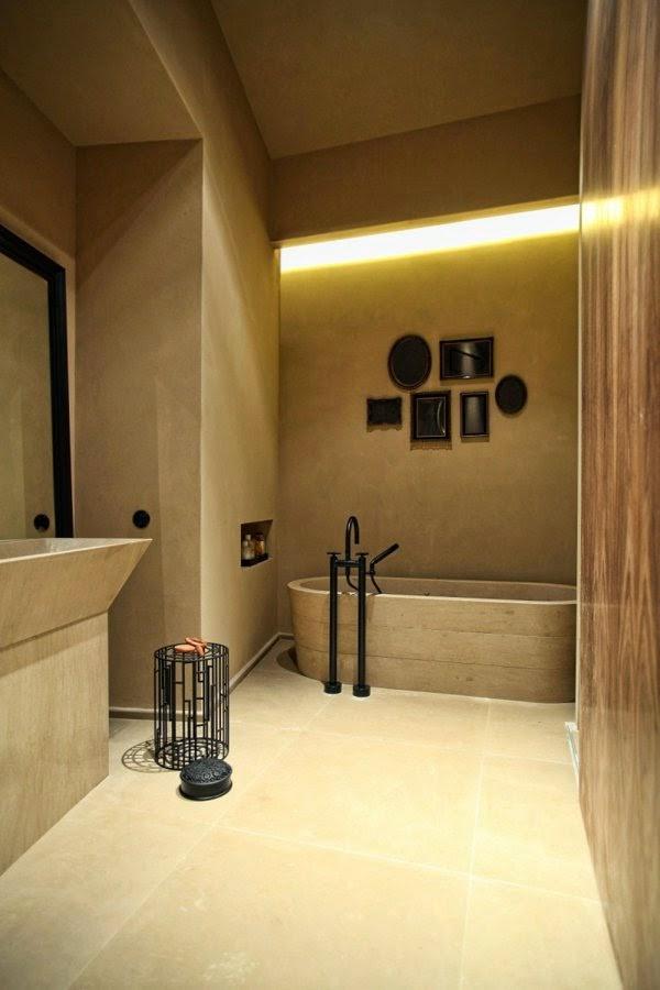 Led Lights In Ceiling: false ceiling LED lights: bathtub in okra color with LED lighting,Lighting