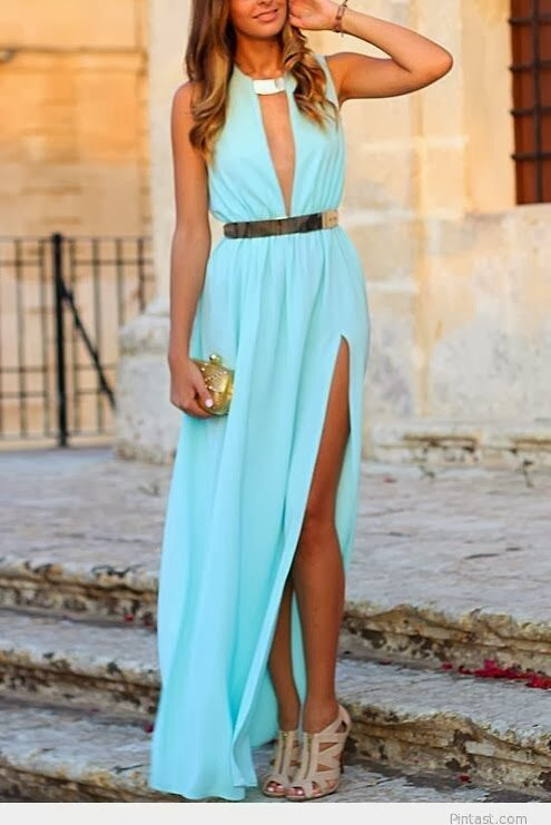 Attractive Blue Evening Dress with Beige High-Heeled Shoes and Golden Mini Bag, Very Fashionable