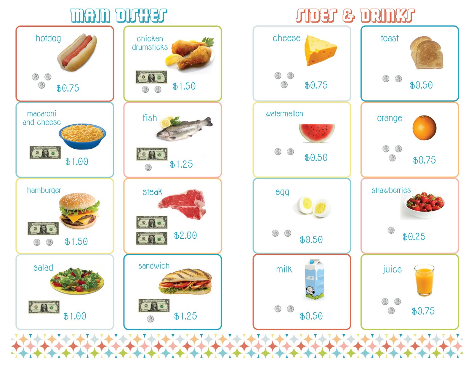 Testing Junk printable kids menus – Menu Templates for Kids