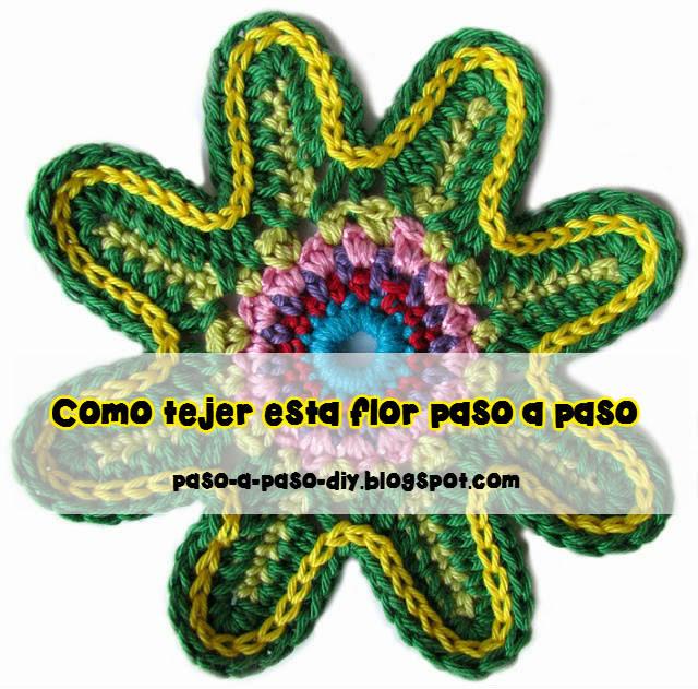 tutorial en fotos de flor crochet