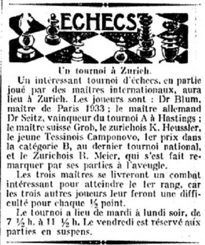 Recorte de periódico donde consta la participación del Dr. Blum y de Seitz en el Torneo de Ajedrez de Zurich 1935