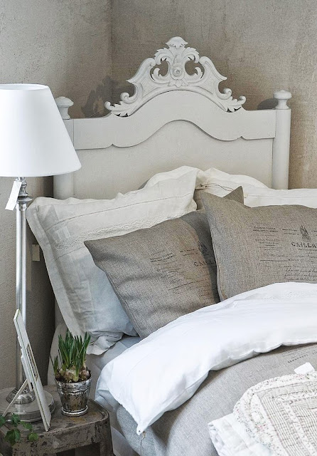 shabby chic bedroom with grey bedding