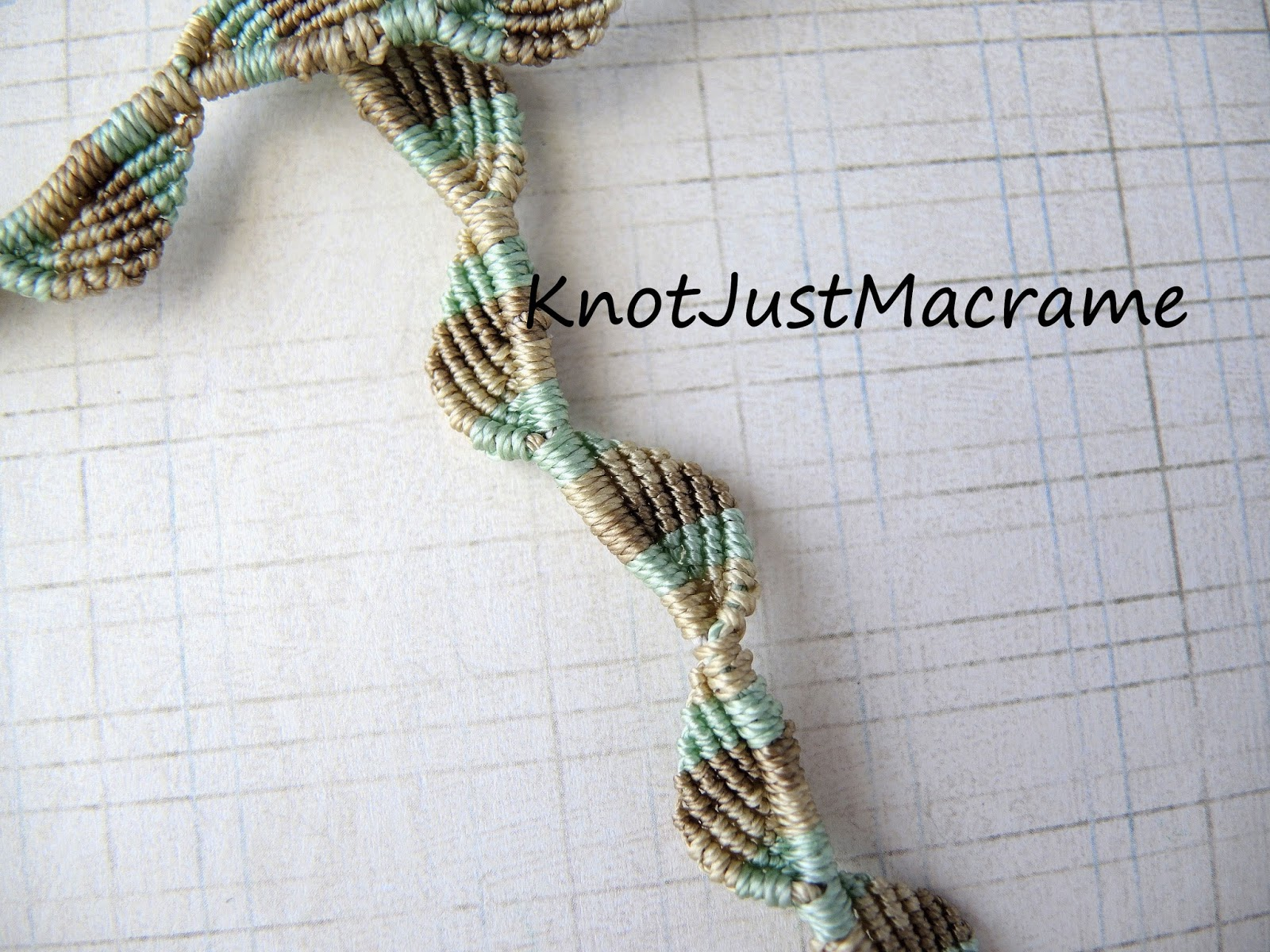 Micro macrame knot work in mint and khaki.