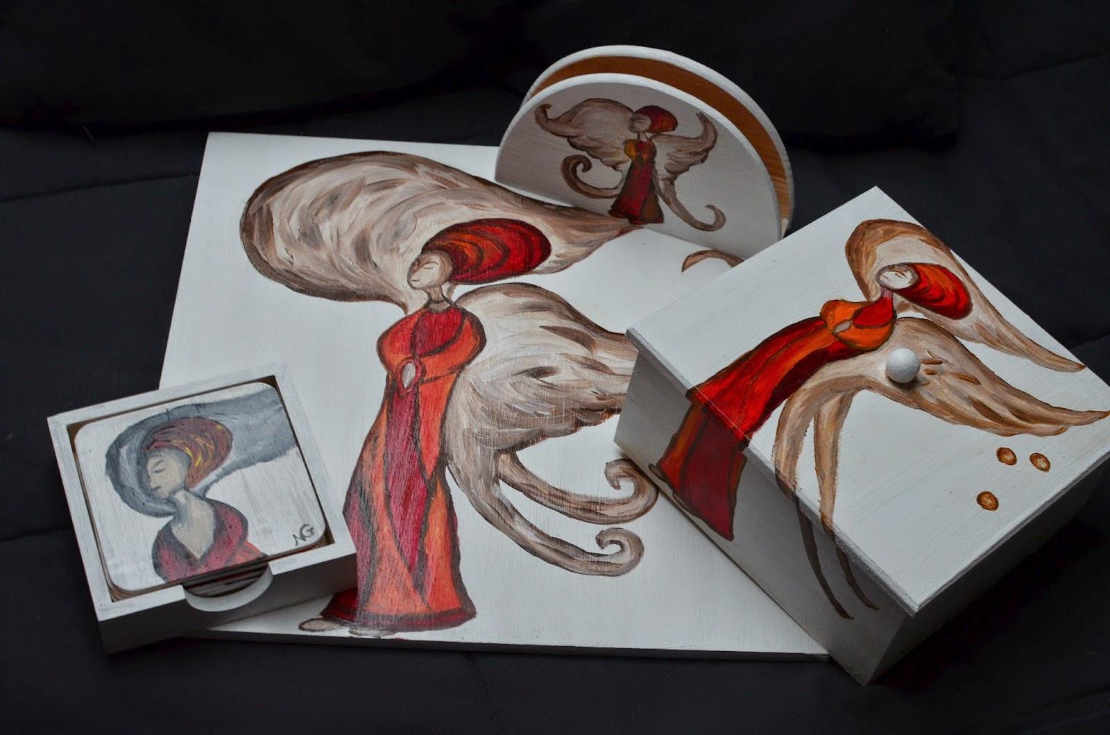 anioł komplet herbaciarka szkatułka podkladka