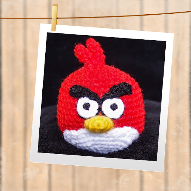crocheted red angry bird amigurumi