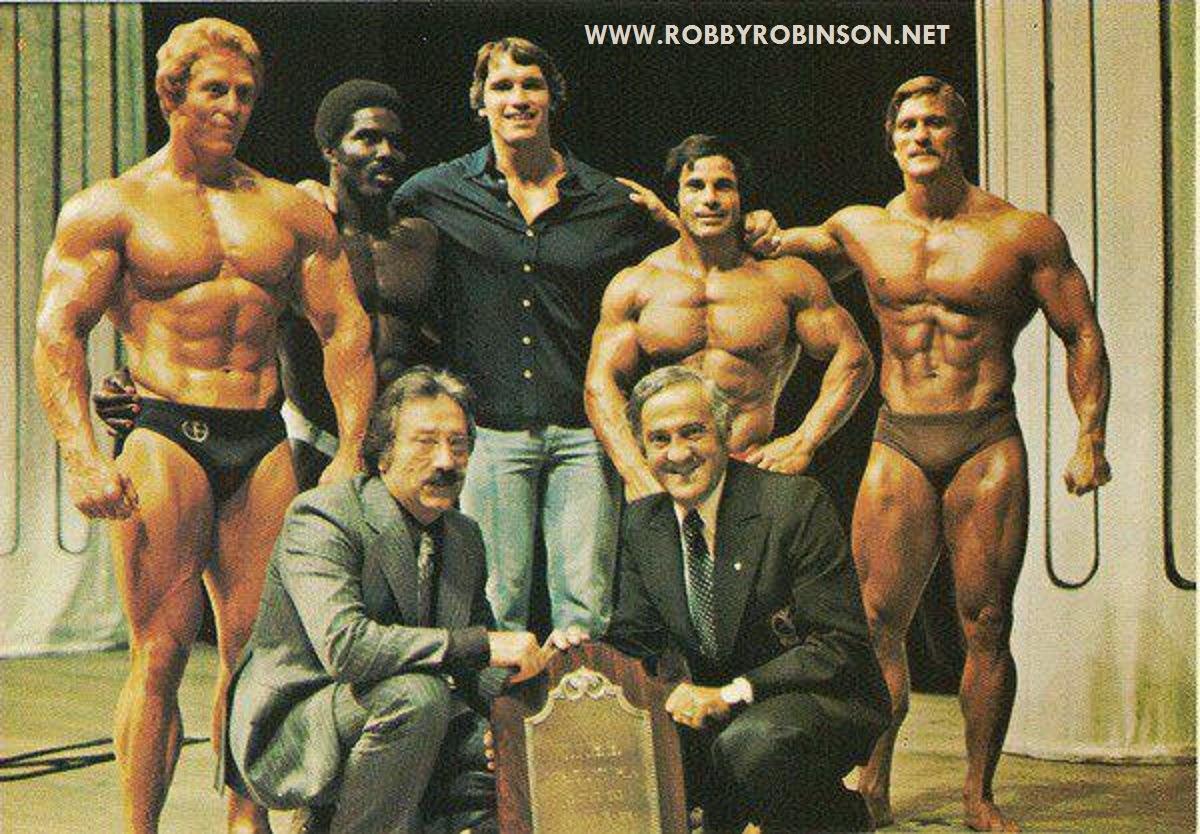 Ken Waller, Robby Robinson, Arnold Schwarzenegger, Franco Columbu, Roger Callard, Joe and Ben Weider ● www.robbyrobinson.net//dvd_master_class.php ●