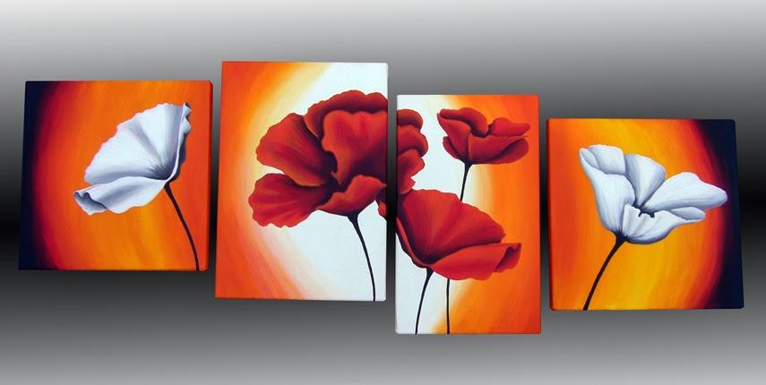 Cuadros modernos florales tripticos pintados a mano - Cuadros florales modernos ...