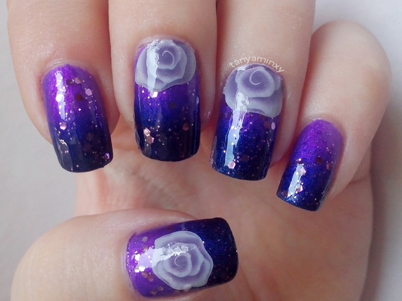 Purple Blur Gradient Nails Born Pretty Store Roses Decals Nail Art