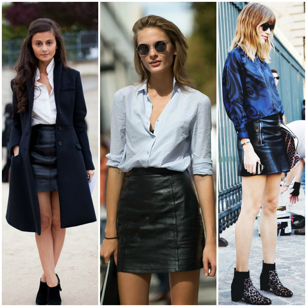 fall 2014 trends - black leather mini skirt and white button down shirt outfit street style look fashion
