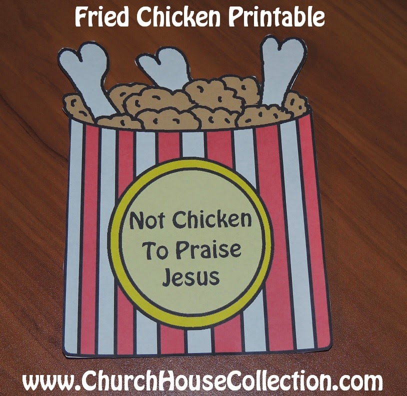 Fried Chicken Sunday School Craft For Kids Church Printable Cutout