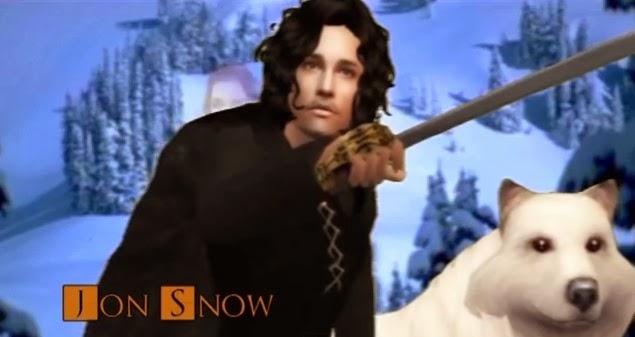 Jon Nieve y Fantasma versión los Sims - Juego de Tronos en los siete reinos