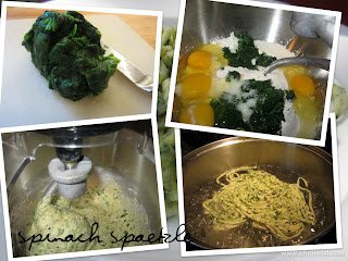 The Not So Cheesy Kitchen {Galactosemia in PDX}: Spinach Spaetzle {Spinatspaetzle} for #SundaySupper