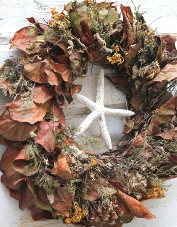 Fall Leaf wreath with starfish