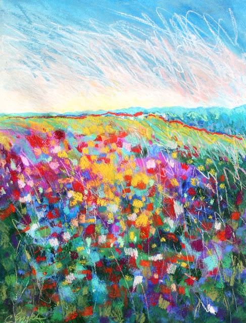 Carol engles art bright flower field two abstract for Bright flower painting