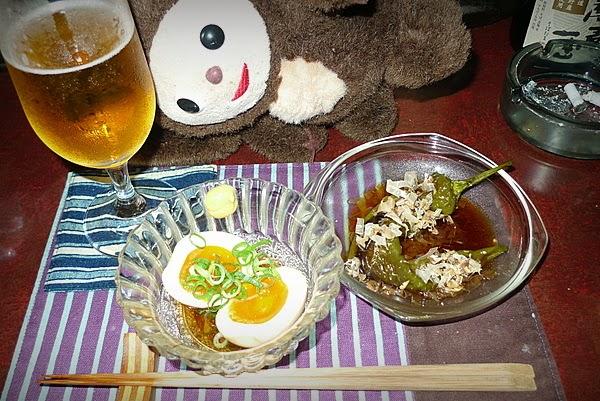 四条大宮Kaju 冷たい煮玉子、焼き万願寺の煮浸し