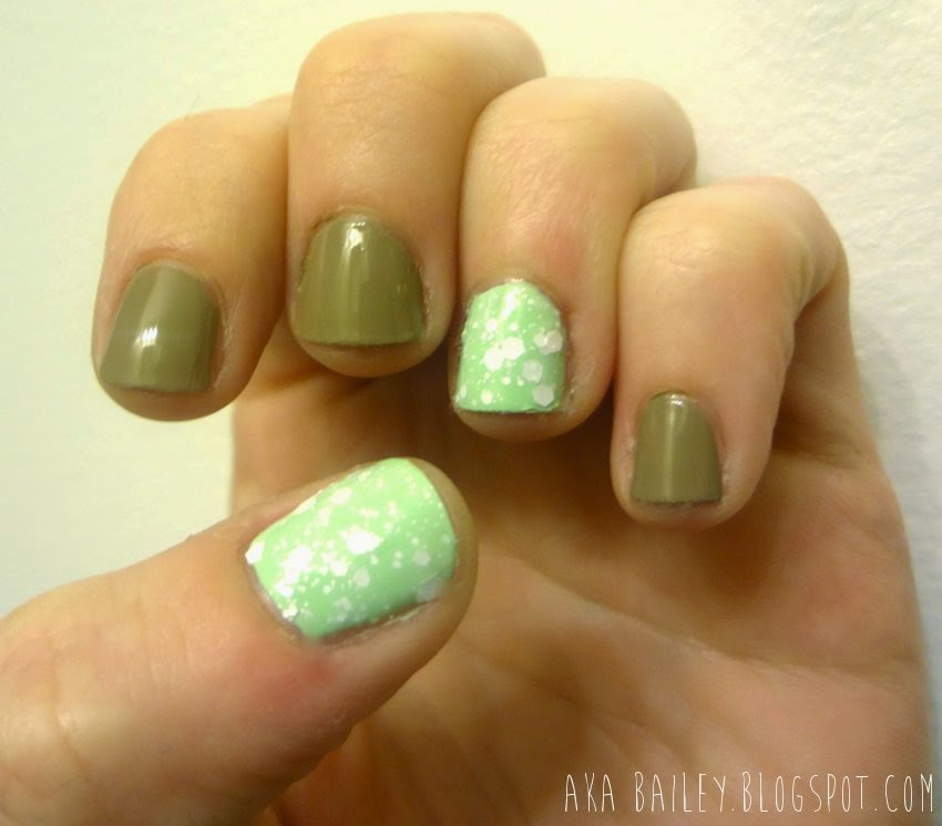 Taupe nails, mint accent nails, Maybelline Color Show Jewels Precious Pearl