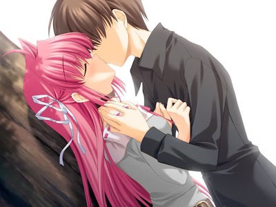 Cute Anime Love Couple Kiss-Pics