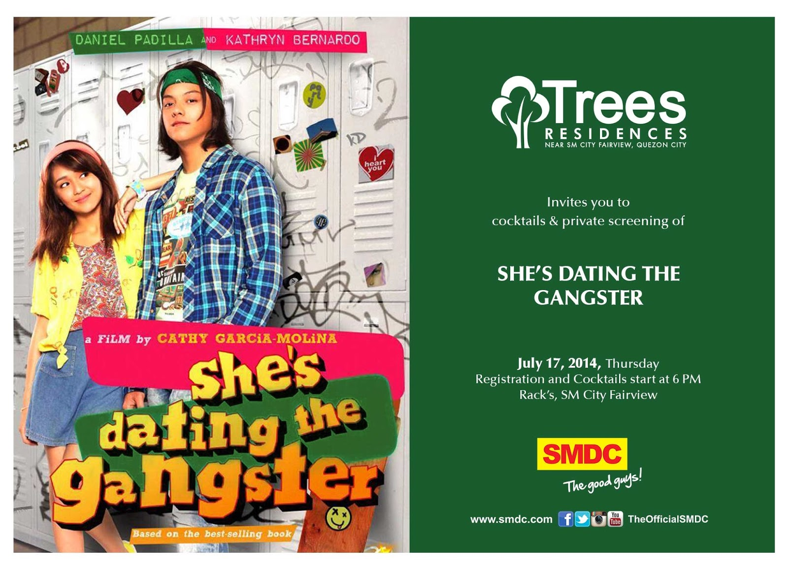 Join us for cocktails and a private screening of She's Dating the Gangster this July 17, 2014 at Rack's, SM City Fairview.