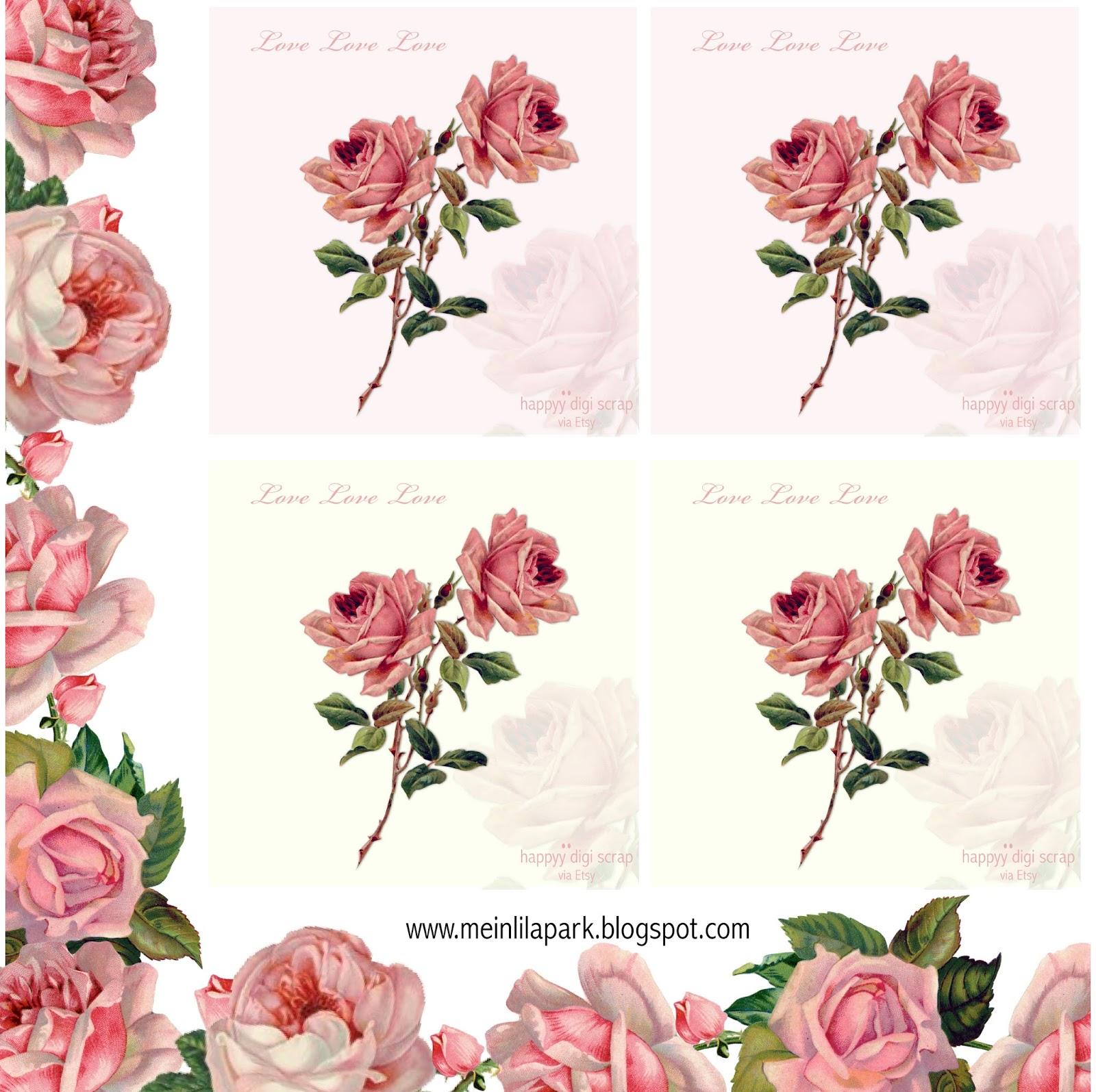 Free printable vintage rose tags - ausdruckbare Rosen-Karten ...