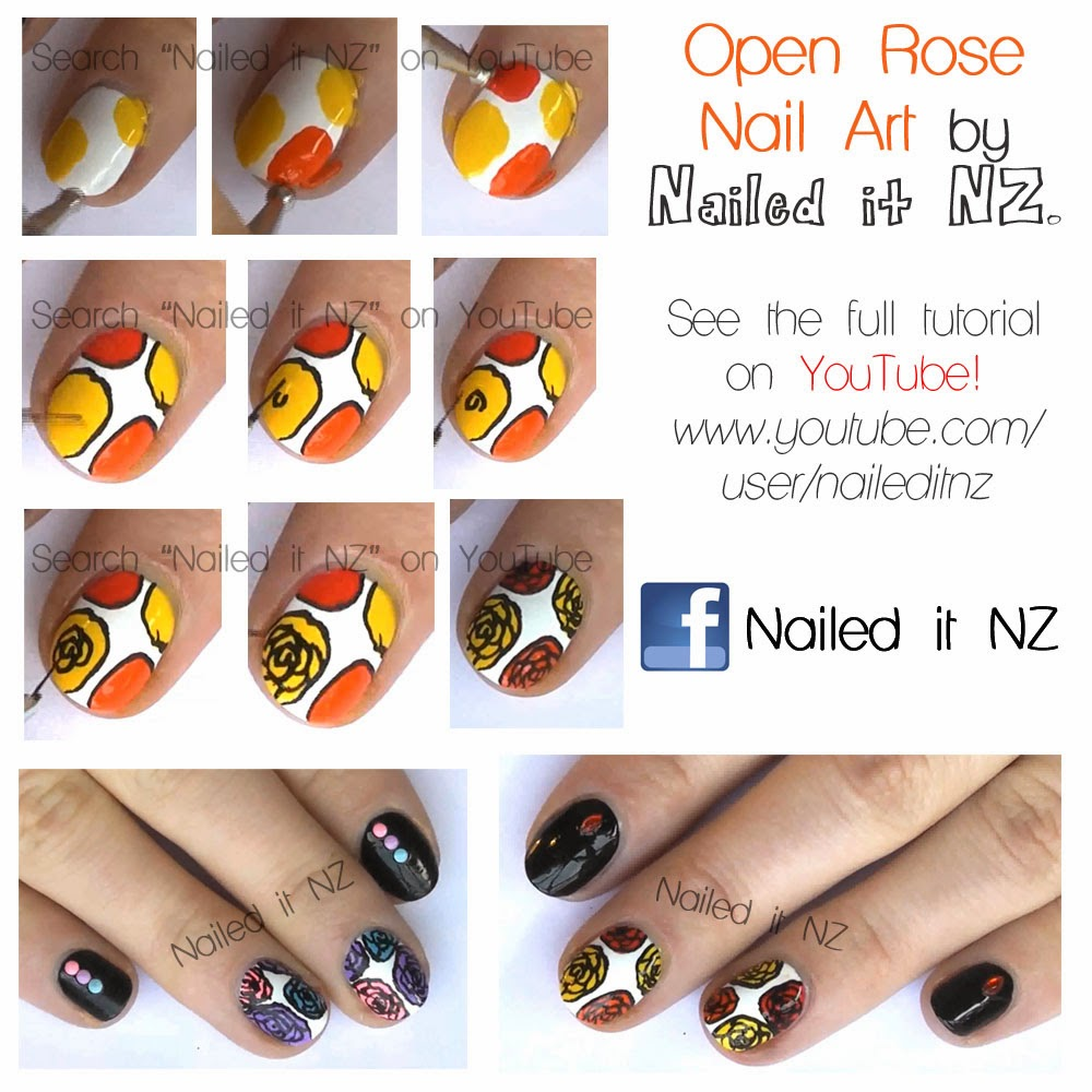 Rose Nail Art Tutorial: Open Roses (with Tutorials