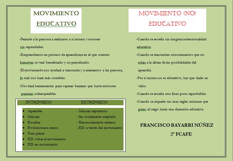 DE CAMINO HACIA EL MOVIMIENTO: Díptico movimiento (no) educativo
