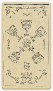 Five of Chalices card - inked illustration - In the spirit of the Marseille tarot - minor arcana - design and illustration by Cesare Asaro - Curio & Co. (Curio and Co. OG - www.curioandco.com)