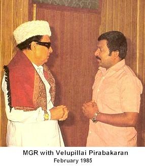 MGR with Velupillai Prabhakaran