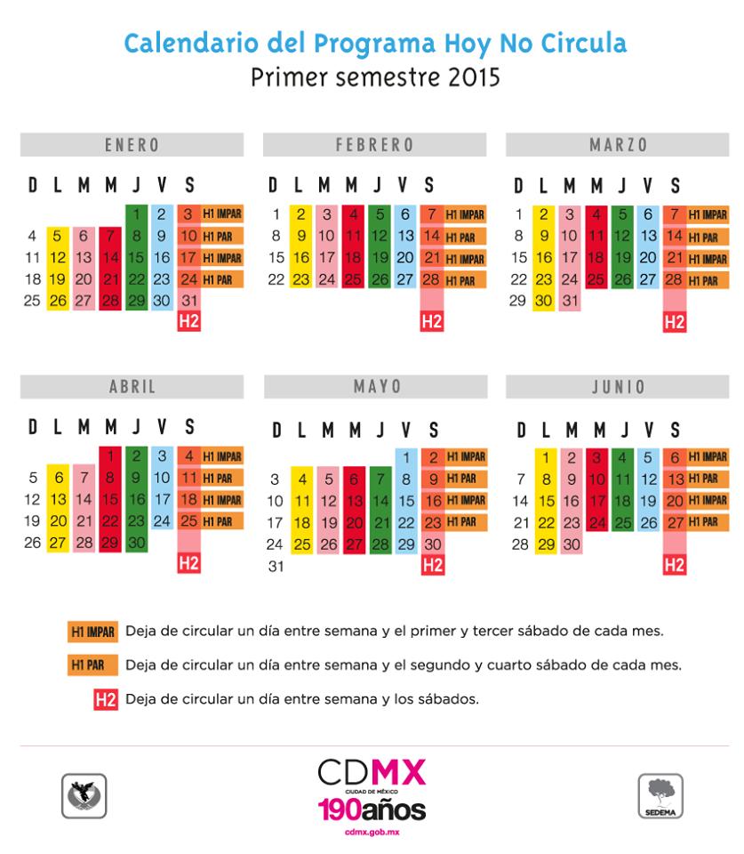 CALENDARIO HOY NO CIRCULA 2015