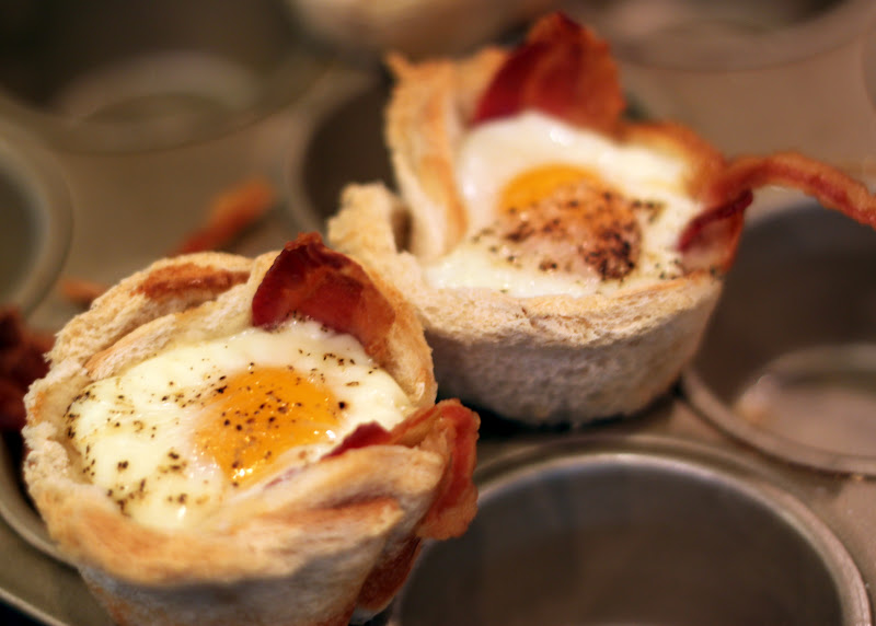 Bacon, Egg And Toast Cups Recipe — Dishmaps