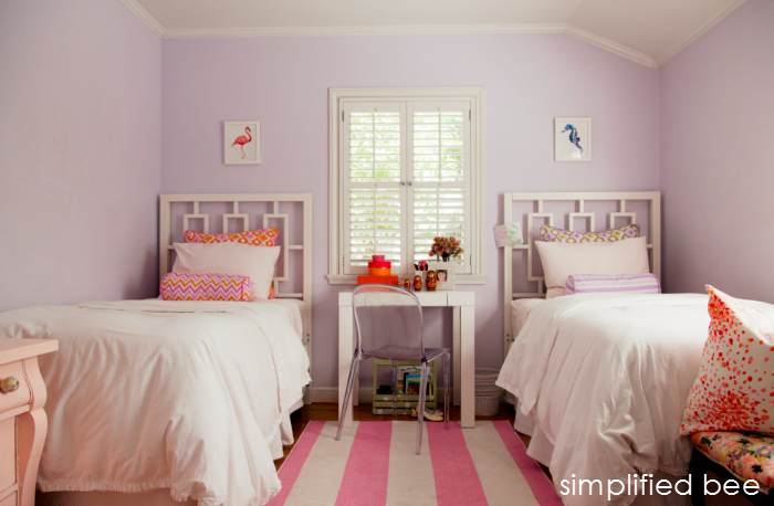 Pink purple girls room reveal michaela noelle designs - Purple and pink girls bedroom ...