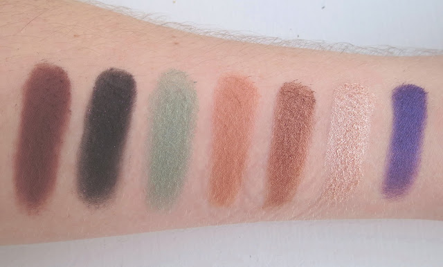 a picture of Anastasia Beverly Hills Self-Made Eyeshadow Palette ; Hot Chocolate, Spirit Rock, Isla, Sherbert, Hot&Cold, Treasure, Deep Purple (swatch)