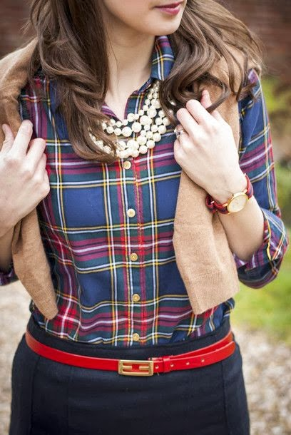 Plaid and pearls.