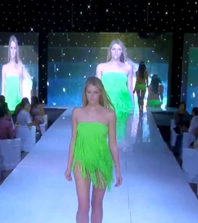 Neon zöld egyrészes fürdőruha hosszú rojtokkal - fürdőruha 2013
