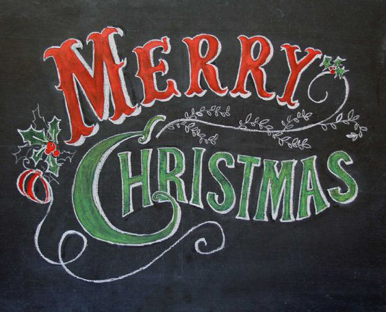 christmas sayings drawing on black board