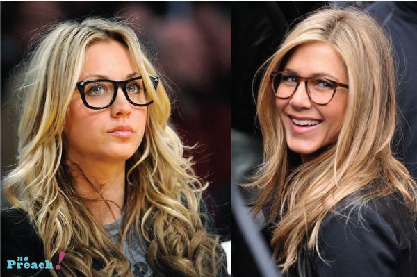 óculos de grau estilosos e coloridos - atriz Kaley Cuoco a Penny de Big Bang Theory - Jennifer Aniston - nerd chic - geek