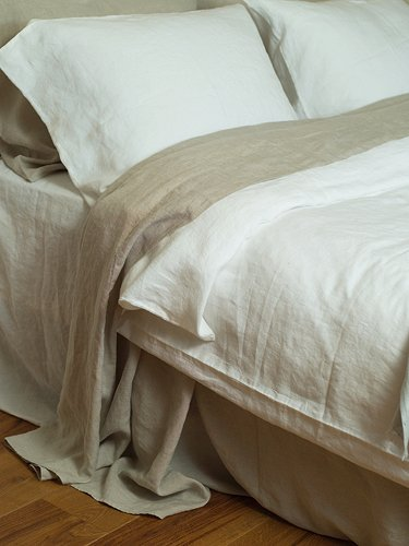 "Natural Linen Top Sheet, Size: 108"" x 116"" (275 x 295 cm) pre-washed and soft, would work well as a coverlet or tablecloth, too.  In the emporium by linenandlavender:  http://www.linenandlavender.net/p/blog-page_3.html"