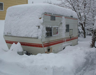 snowstorm on our Shasta camper