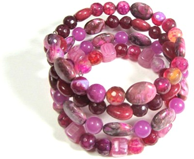 Bead Wrap Bracelet with semi-precious beads in shades of pink and red