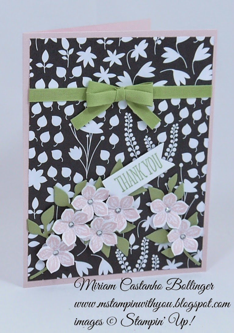 Miriam Castanho Bollinger, #mstampinwithyou, stmapin up, demonstrator, dsc122, thank you, back to black dsp, petite petals, something to say stamp set, petite petals punch, big shot, flower frenzy die, banner framelit, su